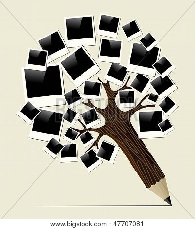 Retro Instant Photo Concept Pencil Tree