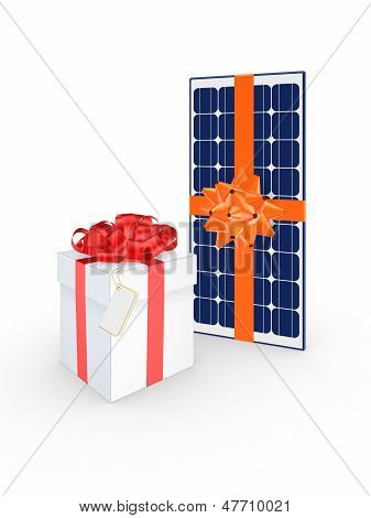 Giftbox and solar battery.