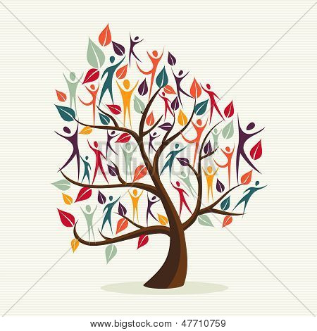 Diversidad humana hojas árbol Set