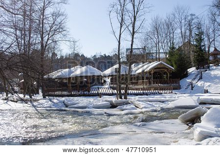 Frozen River Bank Wooden Village Houses Roof Snow