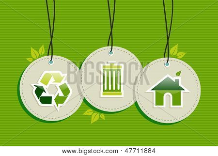 Hanging Green Environment Sign Icons Labels Set