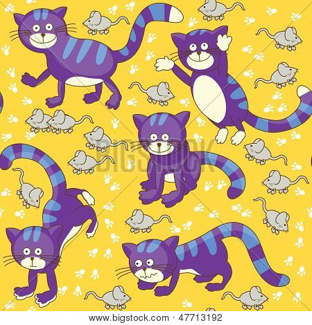 Funny Cats And Mouses Seamless