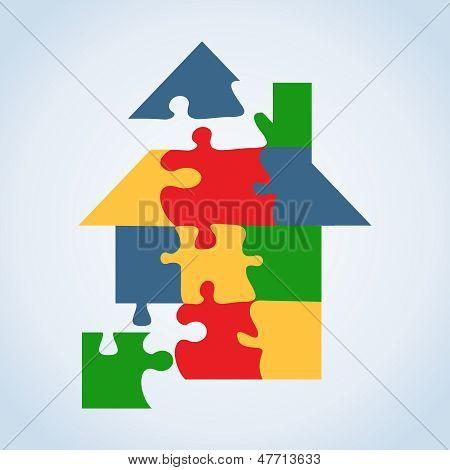 Inmobiliaria Icon Set Jigaw forma