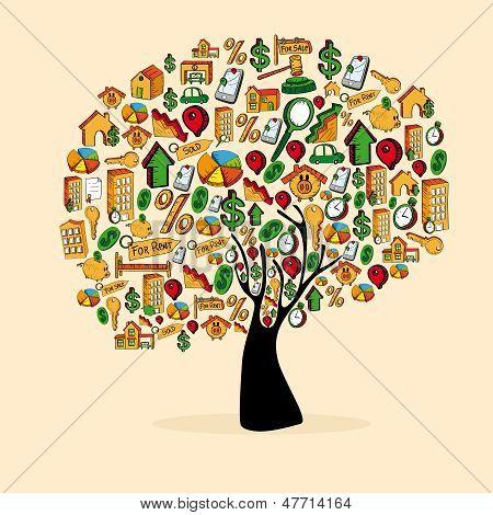 Inmobiliaria Icon Set árbol