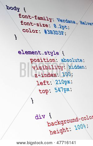 Css Source Code Closeup Vertical View