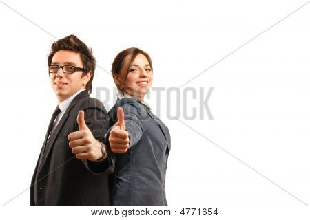Back To Back Business Partners Showing Okay Sign
