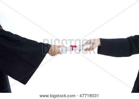 Close-up Hands Giving Graduation Certificate - Isolated