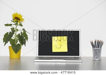 Smiley face on laptop screen by pencils in cup and flowers on desk