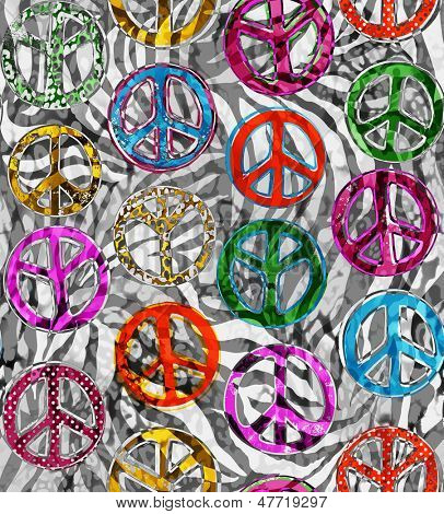 Peace signs over zebra seamless background