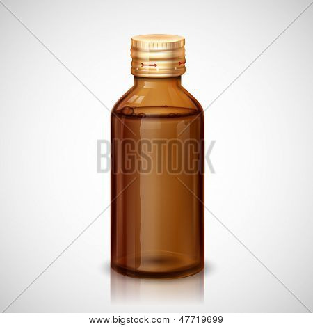 illustration of glass bottle with medical syrup