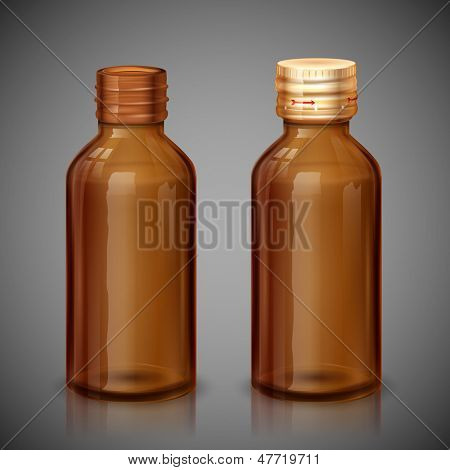 illustration of medical syrup bottle with cap