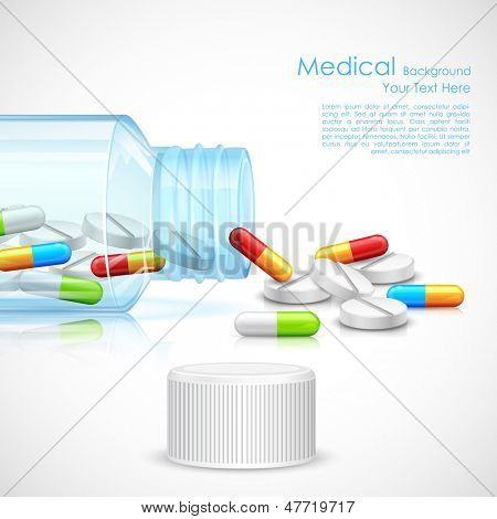 illustration of medicine capsule in transparent bottle