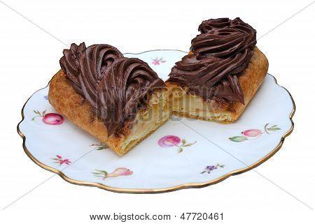 Chocolate eclair cut in half