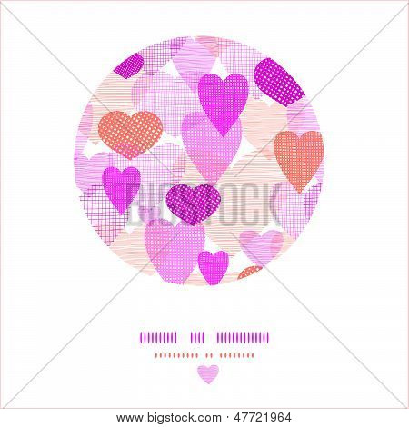 Textured fabric hearts circle vignette template background