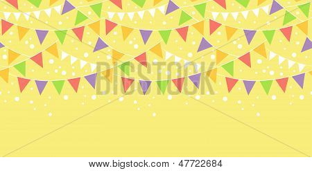 Birthday Decorations Bunting Horizontal Seamless Pattern