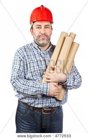Construction Worker Holding Cardboard Tubes