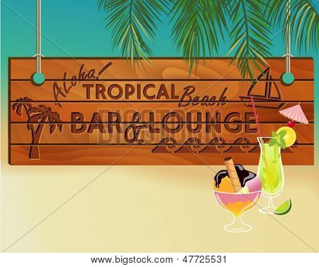 Tropical Beach Bar Wood Board Signpost, with sandy beach and palm tree leaves in the background and ice cream and cocktail at the front