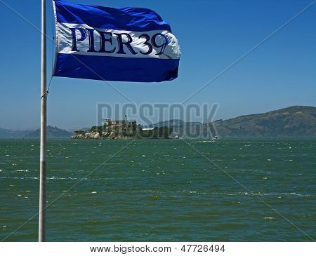 Alcatraz Island And Pier 39 Flag