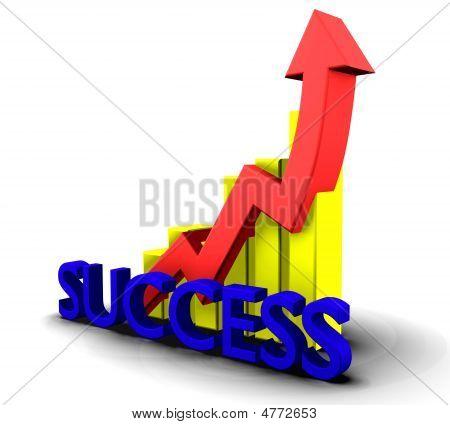 Gráfico de estatísticas com a palavra de sucesso