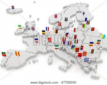 欧洲的三维地图.3d图片