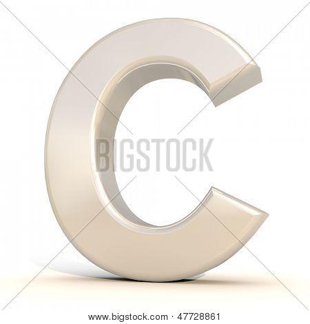 3D alfabeto, letra C, isolado no fundo branco
