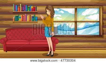 Illustration of a lady standing with a binder near the sofa