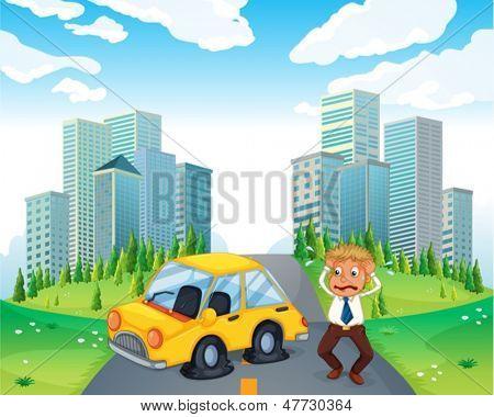 Abbildung eines besorgt-Besitzers eines Autos mit Reifen