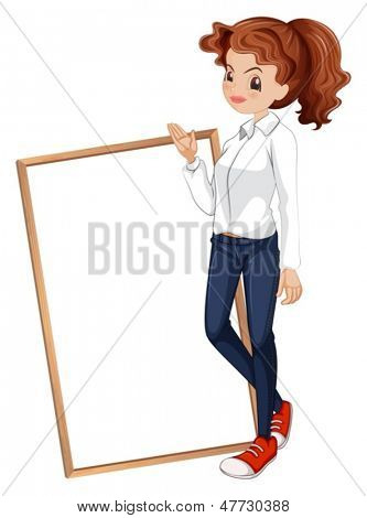 Illustration of a lady in a formal attire standing in front of the signboard on a white background
