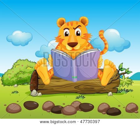 Illustration of a tiger reading a book seriously