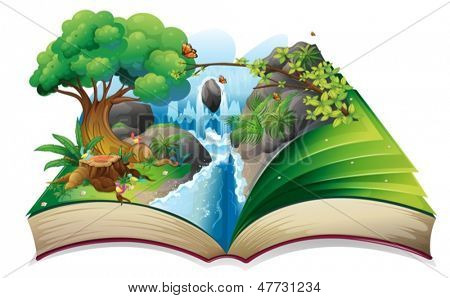 Illustration of a storybook with an image of the gift of nature on a white background