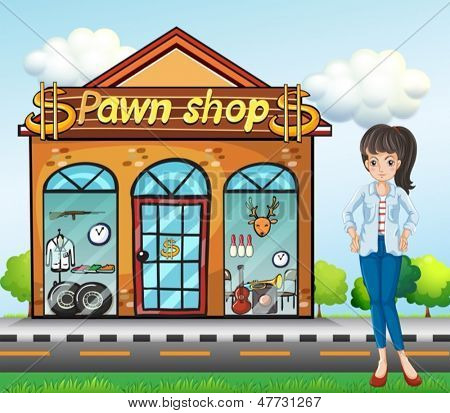 Illustration of a lady standing beside the pawnshop