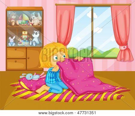 Illustration of a girl folding her blanket