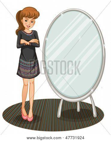 Beispiel für eine Frau Beaside einen Spiegel auf weißem Hintergrund