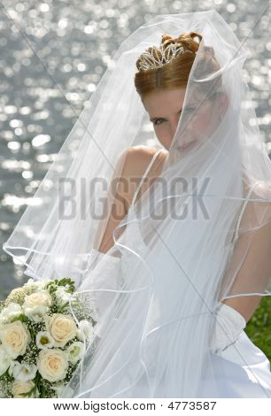 Smiling Bride Behind Veil