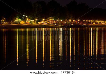 Summer night promenade by the river, view from Ada island, Belgrade