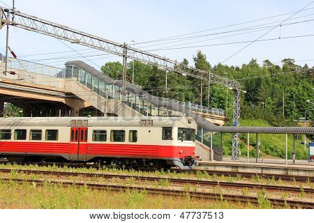 Commuter Train At A Railway Station