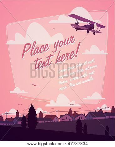 Biplane. Romantic background
