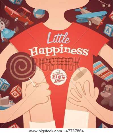 Little happiness. Childish poster. Vector retro styled illustration.