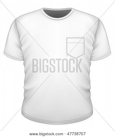 Vector. Men's t-shirt design template (front view). T-shirt with pocket