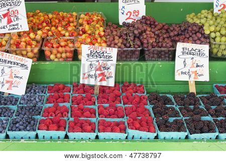 Fruits And Vegetables Stall Berries Display