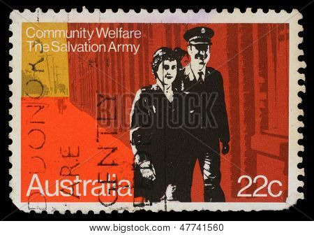 AUSTRALIA - CIRCA 1980: A stamp printed in Australia honoring Community Welfare, Salvation Army, circa 1980