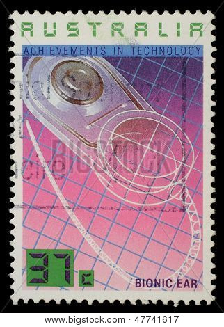 AUSTRALIA - CIRCA 1987: A Stamp printed in AUSTRALIA shows the Bionic Ear, Achievements Technology series, circa 1987