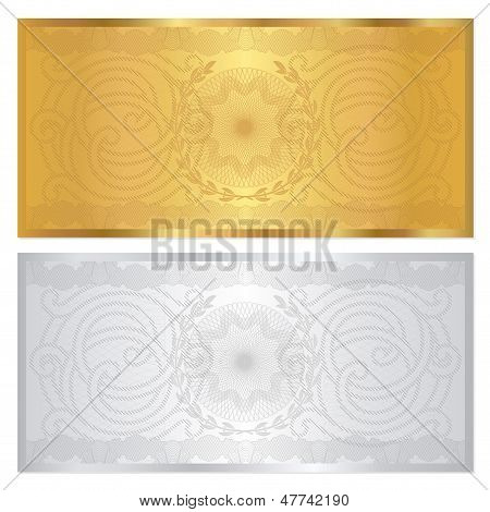 Gold, silver Gift Voucher / certificate / coupon template (banknote, cheque)