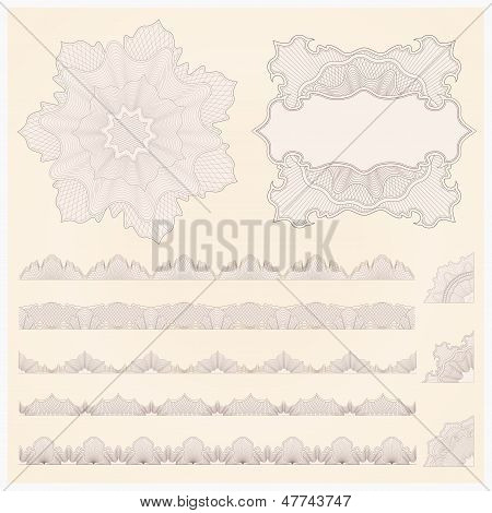 Guilloche pattern (watermarks, borders) for banknote, money design, currency, cheque, check, voucher