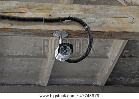 Monitor Probe On Wooden Beam