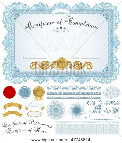 Blue Certificate / diploma of completion (template) with borders. Guilloche pattern