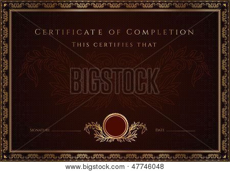 Dark brown Certificate / Diploma template. Background design with pattern, golden border