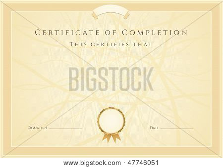 Certificate / diploma of completion (template, background) with border, pattern and medal