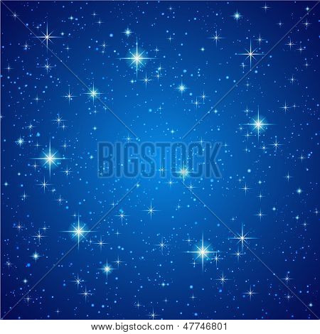 Blue Abstract background with sparkling, twinkling stars. Universe