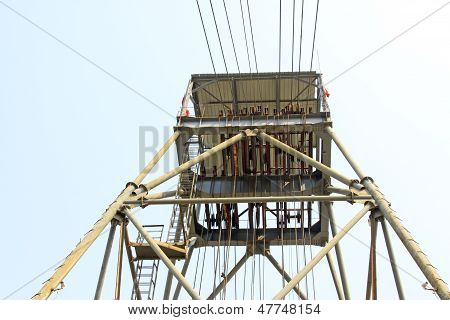 Drilling Derrick In A Iron Mine